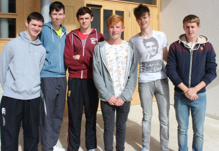 Michael O'Donovan, Brad Duffy, Paddy McCarthy, Sean O'Connell, Jack ODonnell and Jake Foley after receiving their results at CBS on Wednesday. Photo by Dermot Crean