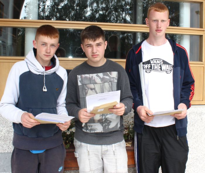 Kevin Greensmyth, Ryan Dowling and James O'Shea after receiving their results at CBS The Green on Wednesday. Photo by Dermot Crean