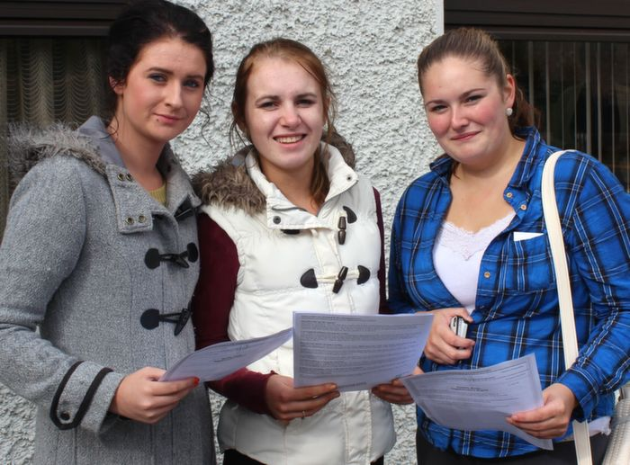Emer Casey, Emily O'Brien and  Ciara Ryan with their results outside Presentation school on Wednesday morning. Photo by Dermot Crean
