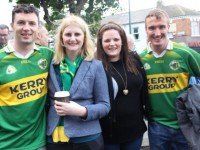 Micheal Rice, Aoife McCabe, Joanne Masterson and Padraig Mulrennan enjoying the atmosphere outside James Gill pub near Croke Park on Sunday. Photo by Dermot Crean
