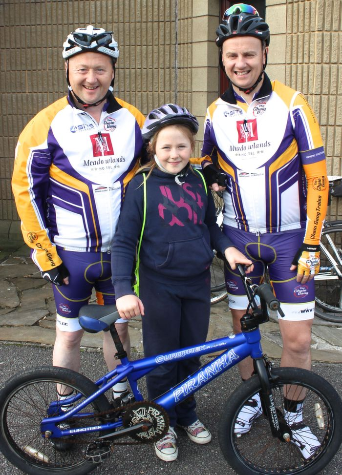 John, Clodagh and Christo Murray at the start of the Na Gaeil GAA Club fundraising cycle on Saturday morning. Photo by Dermot Crean