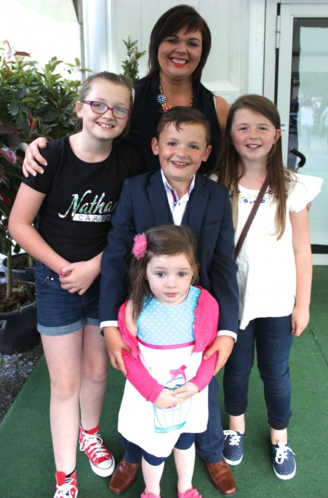Bronagh Devlin with Alana Devlin, Caolan Devlin, Cliodhna Timlin and, in front, Olivia Devlin who went to the Nathan Carter concert at the Dome on Thursday night. Photo by Dermot Crean