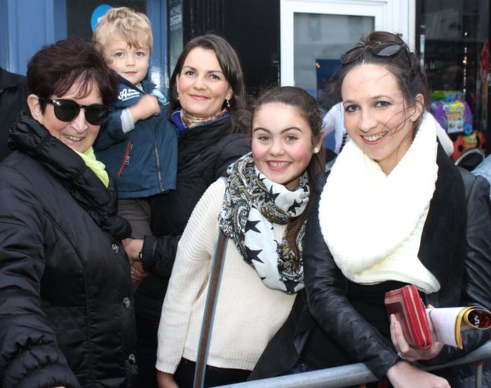 Margaret O'Meara, Elliott Calleja, Helena Rusk, Charlotte O'Halloran and Maria O'Meara at the Rose Parade on Saturday night. Photo by Dermot Crean