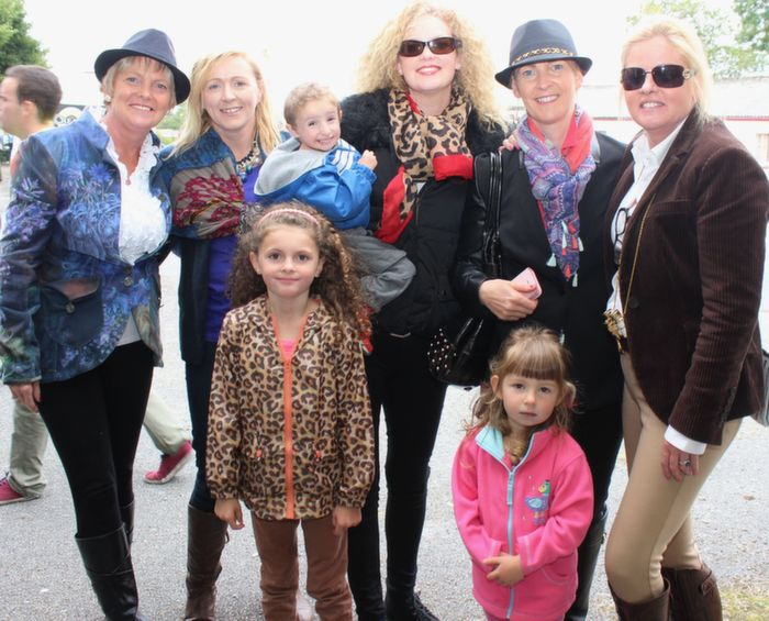 Winner of the Best Dressed Lady competition Breda Brosnan (far right) with Rita Holly, B'Anne O'Connor, Brody Horgan, Caroline Horgan, Sandra Maher and in front, Holly Horgan and Aisling Maher at the Kerry International Horse and Pony Race Meeting at Ballybeggan on Saturday. Photo by Dermot Crean