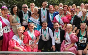 Members of the Born To Run club who decided to run the Rose Of Tralee 10k dressed as Roses and Escorts at Denny Street on Sunday. Photo by Dermot Crean