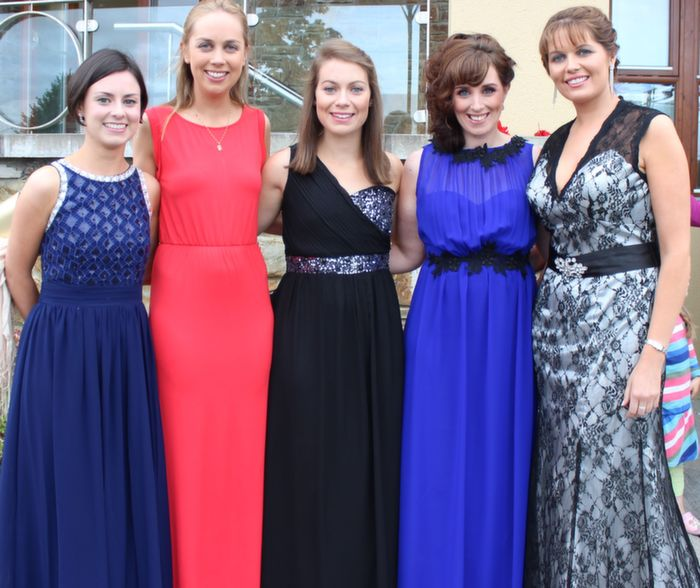 Mary Barry, Christine Dalton, Niamh O'Brien, Laura Lee Murphy and Andrea Brosnan at the Rose Ball in the Dome on Friday night. Photo by Dermot Crean