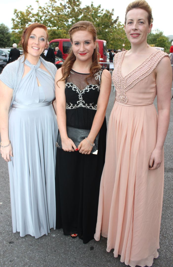 Helen O'Sullivan, Laura Corcoran and Marie Fleming of IRD Duhallow at the Rose Ball in the Dome on Friday night. Photo by Dermot Crean