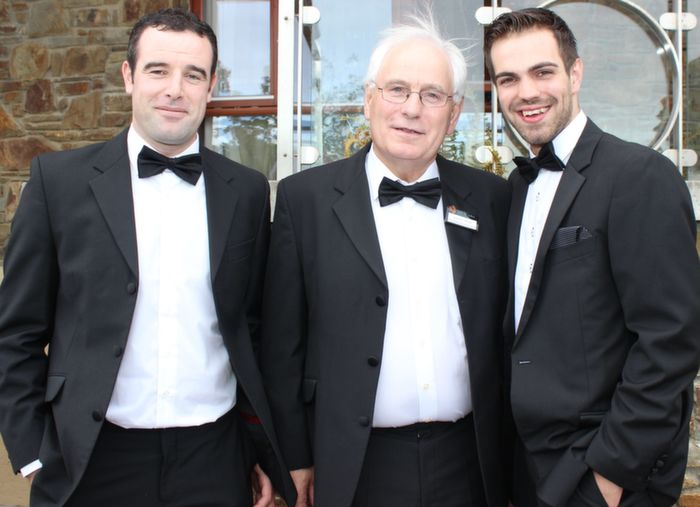 Damian Burke, Vincent Walsh and Mikey Walsh at the Rose Ball in the Dome on Friday night. Photo by Dermot Crean