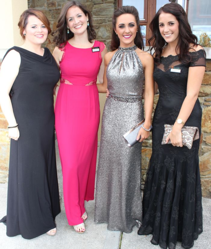 Caoimhe Flanagan, Elizabeth Spellman, Catherine Sherry and Nicola McEvoy looking glamorous at the Rose Ball in the Dome on Friday night. Photo by Dermot Crean