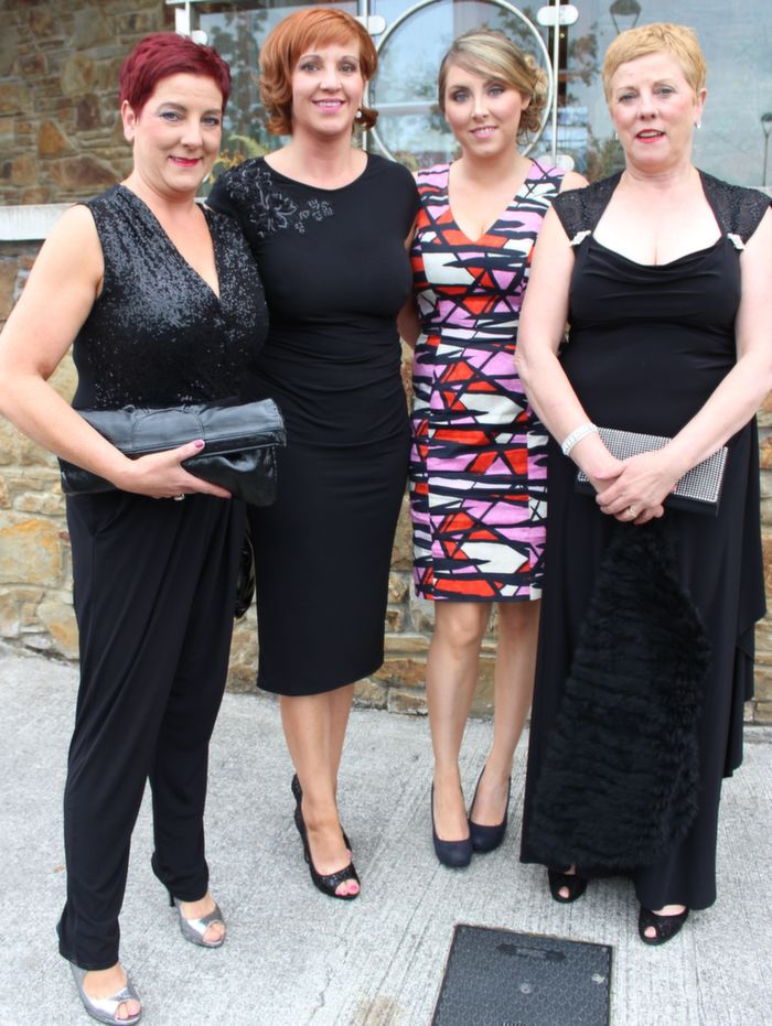 Ann Riordan, Caroline Riordan, Amy Dunlea and Mary Dineen, Scartaglin, at the Rose Ball in the Dome on Friday night. Photo by Dermot Crean