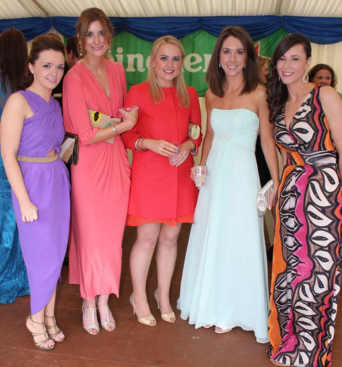 Ruth Colleran, Aoife O'Brien, Aisling Collins, Ciara Looney, Ciara Murphy at the Rose Ball in the Dome on Friday night. Photo by Dermot Crean