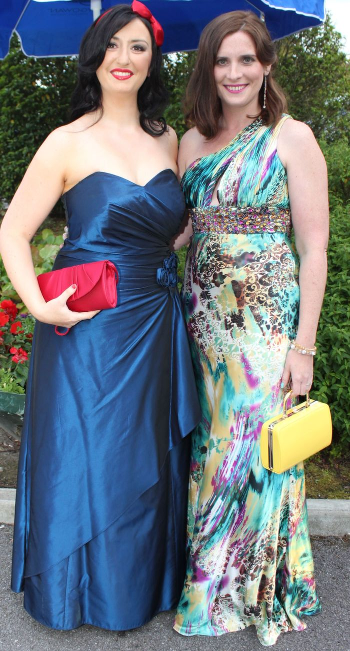 Aisling O'Brien and Anna Curtin at the Rose Ball in The Dome on Friday night. Photo by Dermot Crean