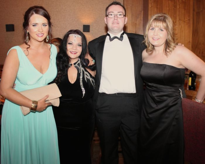 Aisling Spillane, Cora Lyons, Martin Bonnar and Kelly Hickey from the Park Georgian Guesthouse in Denny Street who attended the Rose Ball in the Dome on Friday night. Photo by Dermot Crean