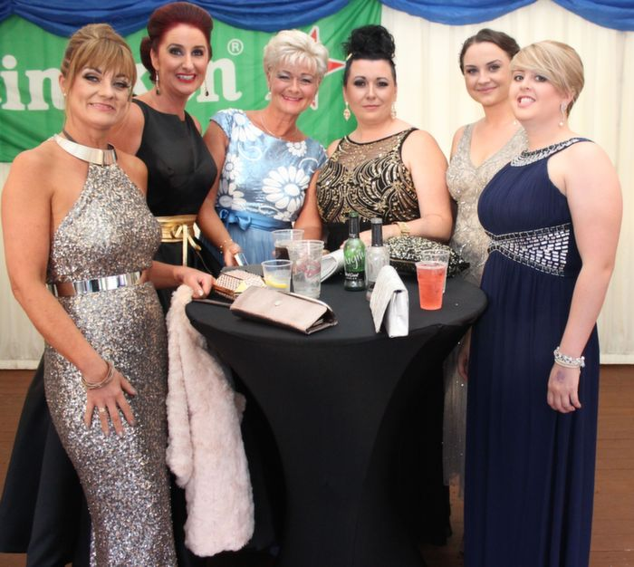 Karyn Moriarty, Ann Kahraman, Olivia Wall, Rebekah Wall, Ann Marie Dowling and Aoife Dillane at the Rose Ball in The Dome on Friday night. Photo by Dermot Crean