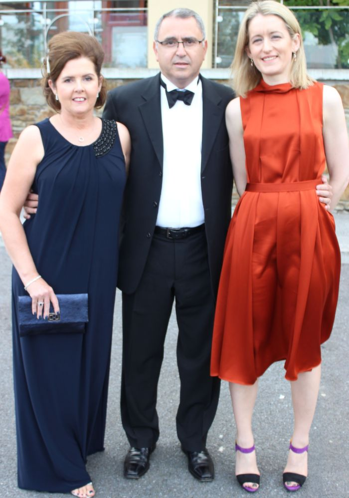 Anne Marie and George Philips and Catriona Buckley at the Rose Ball in the Dome on Friday night. Photo by Dermot Crean