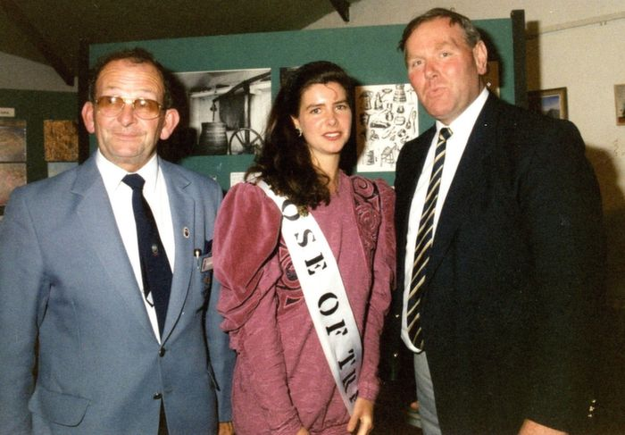 The Rose of Tralee, Julia Dawson representing Germany, paid a visit to Siamsa Tire, back in 1991. She is pictured with Gerard O'Reilly, Festival President and the late Martin Whelan, General Manager of Siamsa. Photo sent in by Katrina McCarthy