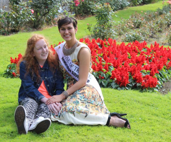 Rose of Tralee 2014, Maria Walsh, in the Town Park with Aine Sweeney, Donegal, on Wednesday morning. Photo by Dermot Crean
