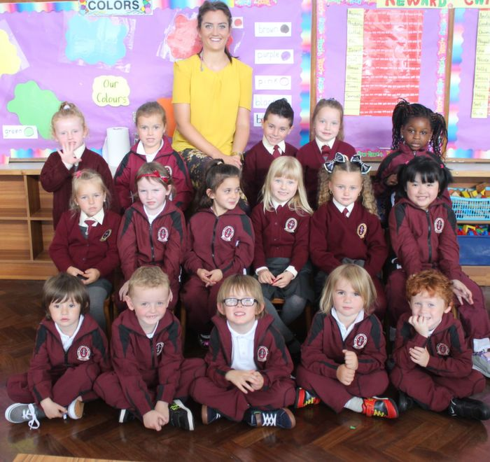 Ms Sarah Daly's junior infants class in Moyderwell on Thursday morning. Photo by Dermot Crean