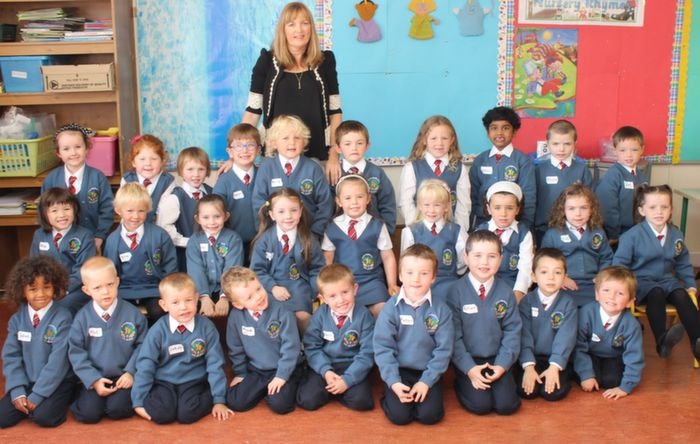 Ms Jo O'Connor's junior infants class in Scoil Eoin on their first day in school. Photo by Dermot Crean