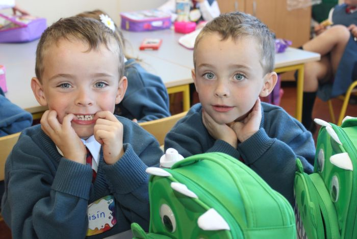Twins Oisin and Fionn Cotter on their first day at school in Scoil Eoin on Thursday morning. Photo by Dermot Crean