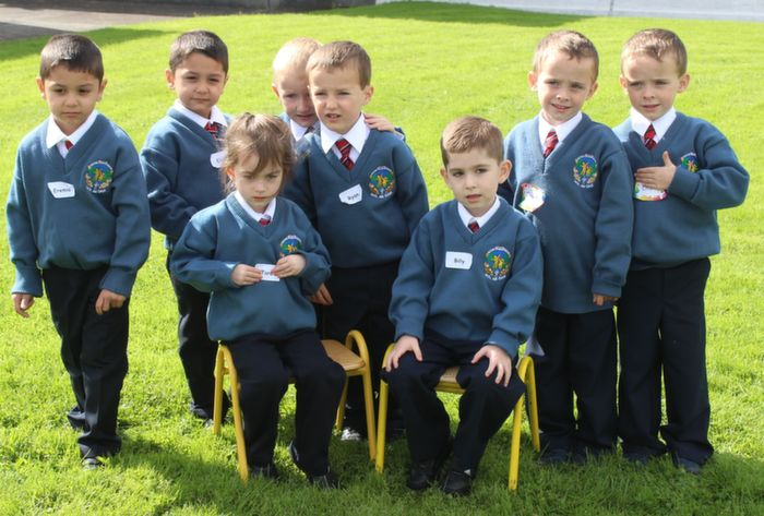 The four sets of twins who started school in Scoil Eoin on Thursday morning; Standing are Eremie and Elisei Novac, Adam and Ryan Molloy and Oisin and Fionn Cotter with seated, Billy and Tara Cashman. Photo by Dermot Crean