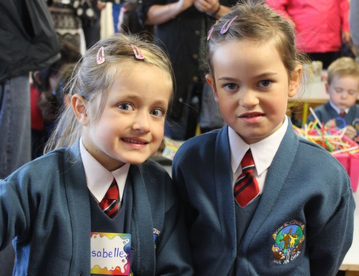 Starting her first day of school was, Isabelle Cunchen with her older sister Jocelyn. Photo by Gavin O'Connor.