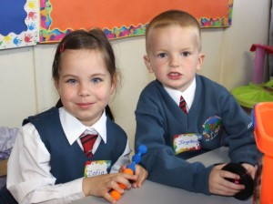 Starting their first day of school at Scoil Eoin were, Zofin Sosnowka and Jaden Collins. Photo by Gavin O'Connor.