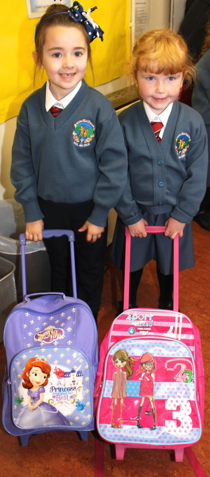 Starting their first day of school at Scoil Eoin were, Clowie O'Sullivan and Lucy Carey. Photo by Gavin O'Connor.