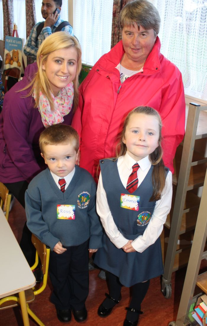 Starting their first day of school at Scoil Eoin were, Ross Moriarty and Emma Hoolahan with Joanne Hoolahan and Noreen Dunne. Photo by Gavin O'Connor.