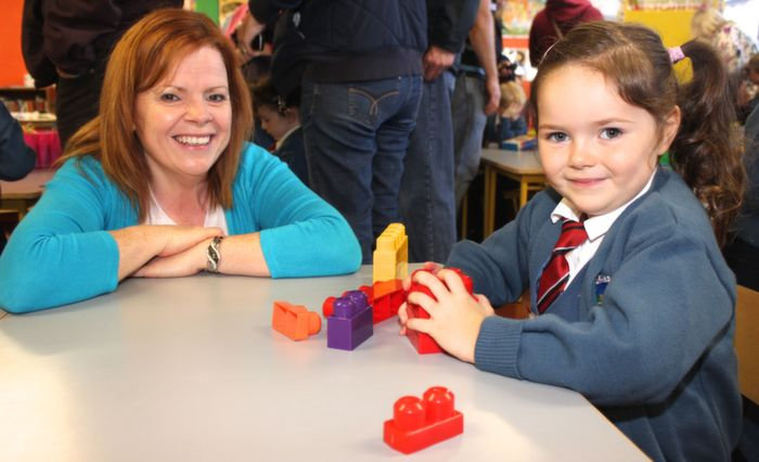Mother Catherine Gibney Colund with her daughter Cara as she begins her first day of school at Scoil Eoin. Photo by Gavin  O'Connor,