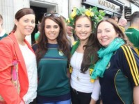 Michelle Dunlea, Ann Marie Murphy, Briana Kelly and Siobhan Kiely outside The Gresham before heading for Croke Park on Sunday. Photo by Dermot Crean