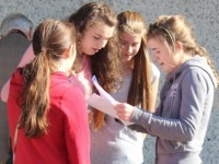 Students of Mercy Mounthawk open up the envelopes that hold the results of their Junior cert exams. Photo by Gavin O'Connor.
