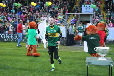 Barry John Keane, runs out to huge applause at the 'GOAL Challenge' charity match in Austin Stack Park. Photo by Gavin O'Connor.