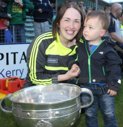 At the 'GOAL Challenge' match in Austin Stack Park were, from left: Leona Twiss with her son Sean. Photo by Gavin O'Connor.