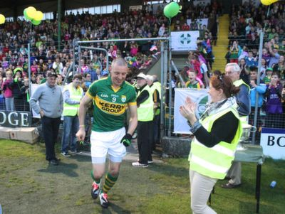 Kieran Donaghy gets a huge reception as he runs out on the pitch for the 'GOAL Challenge' charity match on in Austin Stack Park.