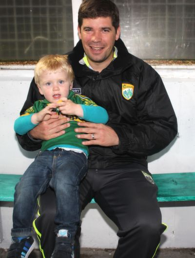 At the 'GOAL Challenge' match in Austin Stack Park were. Eamonn Fitzmaurice with Fergal Corkery. Photo by Gavin O'Connor.