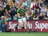 Paul Geaney celebrating his goal in the All-Ireland final against Donegal. Photo by Dermot Crean.