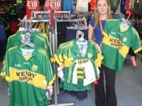 Sales Team Leader at Lifestyle Sports in Bridge Street, Suzanne Rigney with the Kerry jerseys. Photo by Dermot Crean
