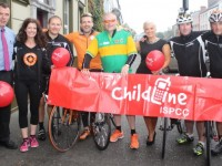 The 'Head2Head' cyclists arrive in Tralee on Friday morning on their way to Dublin for the All-Ireland. From left; Dick Boyle of The Grand Hotel, Nicola Kearns of Niks Tea (sponsor) Dublin, JJ Coffey, Jim Breen, Kevin Finn, Orlagh Winters, Stephen McDonald and Ritchie Comerford. Photo by Dermot Crean