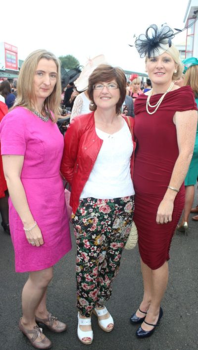 Rachel O'Sullivan, Siobhan O'Connor and Michelle Curry, Abbeyfeale and Athea, enjoying Ladies Day at Listowel Races on Friday. Photo by Dermot Crean