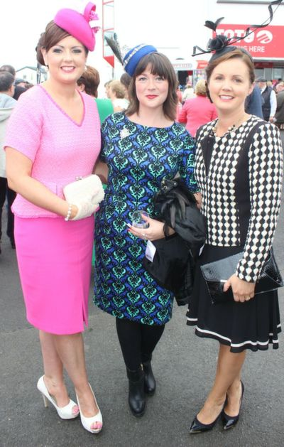 Elaine Sharp, Margaret Lane and Sinead Kearney, Listowel and Moyvane, enjoying Ladies Day at Listowel Races on Friday. Photo by Dermot Crean