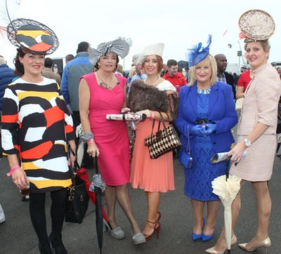 Betty McGrath, Veronica Houlihan, Cliona Moylan and Angela Moylan, Sixmilebridge and Nollaig McCarthy McEnery, Finuge, enjoying Ladies Day at Listowel Races on Friday. Photo by Dermot Crean