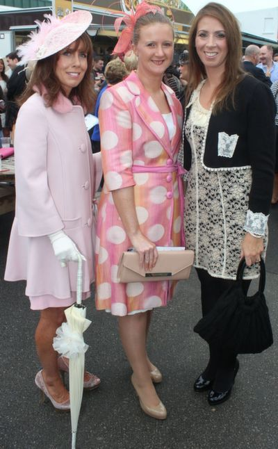 Caroline Foran, Marie Bewick and Helen O'Connor, enjoying Ladies Day at Listowel Races on Friday. Photo by Dermot Crean