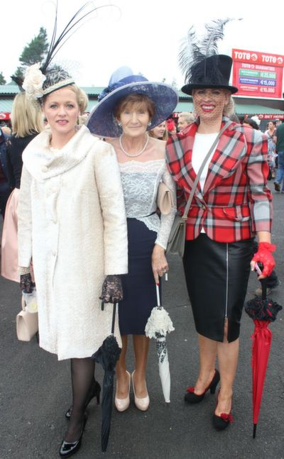 Chris O'Shea, Noreen O'Connor and Diane Jeffers of Jasmine Boutique (Best Dressed Lady finalist),  enjoying Ladies Day at Listowel Races on Friday. Photo by Dermot Crean