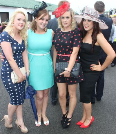 Alison O'Connor, Karen Gillespie, Laura Lynch and Georgina Lynch, Tralee,  enjoying Ladies Day at Listowel Races on Friday. Photo by Dermot Crean