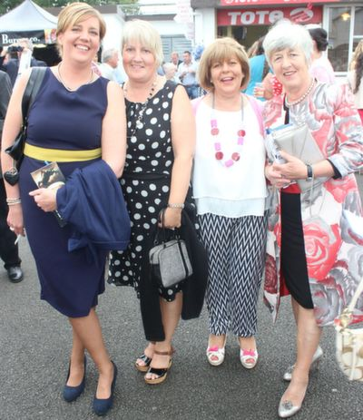 Sheila Ross, Tralee, Ann Moriarty, Ballyduff, Carmel Quirke, Tralee, Mary Griffin, Kilmoyley, enjoying Ladies Day at Listowel Races on Friday. Photo by Dermot Crean
