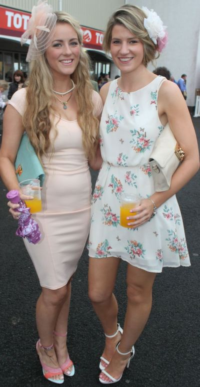 Grace McCarthy, Dunmanway and Michelle Cronin, Innishannon, enjoying Ladies Day at Listowel Races on Friday. Photo by Dermot Crean