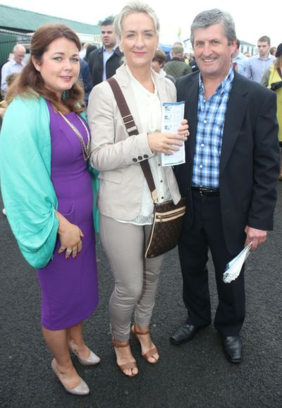 Marie Fitzgibbon, Denise O'Halloran and Pat McCarthy, Tralee, enjoying Ladies Day at Listowel Races on Friday. Photo by Dermot Crean
