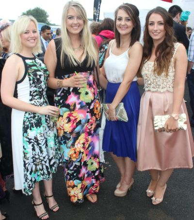 Gwen Mullins, Cork, Roisin Quill, Siobhan Gilbert and Shauna Cashell, enjoying Ladies Day at Listowel Races on Friday. Photo by Dermot Crean
