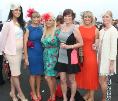 Stephanie Barrett, Christine O'Sullivan, Noelle Tedford, Louise Byrne, Catherine O'Sullivan, Athea and Amy Fitzpatrick, Kilkenny, enjoying Ladies Day at Listowel Races on Friday. Photo by Dermot Crean